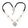 Transparent Glass/Metal Beaded 'Heart' Pendant Necklace On Velour Ribbon - 46cm Length (with 5cm extension