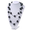 Long Glass Ball Necklace (Black/Metallic) - 120cm Length