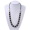 Black Glass Bead Leather Style Cord Necklace - 64cm Length