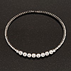 Clear Crystal Flex Choker Necklace In Gun Metal Finish - Adjustable