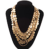 Multistrand 'Coin' Style Necklace In Brushed Gold Metal - 60cm Length/ 7cm Extension