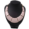 Light Pink Enamel Egyptian Bib Style Choker Necklace In Gold Plating - 38cm Length /7cm Extension
