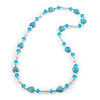 Turquoise Heart Shape Stone, Freshwater Pearl & Acrylic Bead Long Necklace - 76cm Length