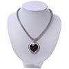 Silver Plated Black Resin 'Heart' Pendant Mesh Magnetic Choker Necklace - 38cm Length