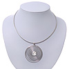 Round Wired Pendant Magnetic Choker In Silver Finish - 36cm Length