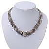 Rhodium Plated Mesh Choker With Diamante Magnetic Clasp - 40cm Length