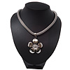 Rhodium Plated 'Flower' Pendant Mesh Magnetic Necklace - 38cm Length