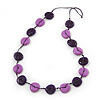 Long Resin Purple/Violet 'Button' Necklace On Cotton Cord - 84cm Length