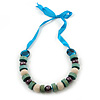 Chunky Light Green Wood, Glass & Fabric Bead Necklace On Light Blue Silk Ribbon - Adjustable