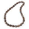 Long Brown 'Marble Effect' Resin Nugget Necklace - 86cm Length
