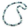 Long Grey/Pale Green/Light Grey Acrylic Nugget Necklace - 90cm Length