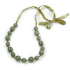 Long Round Pale Green Resin 'Cracked Effect' Bead Necklace With Silk Ribbon - Adjustable