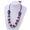 Chunky Wood, Glass & Fabric Bead Necklace On Silk Ribbon - Adjustable