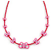 Children's Deep Pink Butterfly Necklace - 36cm Length/ 4cm Extension