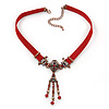 Victorian Red Suede Style Diamante Choker Necklace In Bronze Tone Metal - 34cm Length with 7cm extension