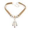 Victorian Light Brown Suede Style Diamante Choker Necklace In Silver Tone Metal - 34cm Length with 7cm extension