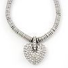Rhodium Plated Swarovski Crystal Puffed Heart Necklace - 38cm Length/ 7cm Extension