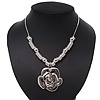 Rhodium Plated Rose Pendant Necklace - 38cm Length/ 8cm Extension