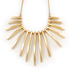 Brushed Gold Bars/Beads Necklace - 38cm Length/ 5cm Extension
