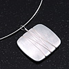 Brushed Silver Square Pendant On Flex Wire Choker Necklace - Adjustable
