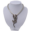 Silver Crystal Enamel 'Tiger' Mesh Magnetic Choker Necklace