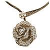 Large Dimensional Swarovski Crystal 'Rose' Pendant Collar Necklace In Burn Gold Finish - 38cm Length