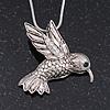 Burn Silver Diamante 'Bird' Pendant Necklace - 38cm Length/ 8cm Extension