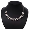 Polished/Matt Silver Tone Diamante Bead Wire Necklace - 36cm Length/ 7cm Extender