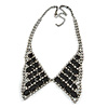 Clear Crystal/ Black Jewelled Peter Pan Collar Necklace In Gun Metal Finish - 36cm Length/ 11cm Extension