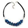 Chameleon Blue Cluster Glass Bead Black Suede Necklace In Silver Plating - 40cm Length/ 7cm Extender