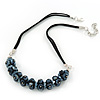 Mirrored Black Cluster Glass Bead Suede Necklace In Silver Plating - 40cm Length/ 7cm Extender