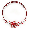 Red Shell Flower Flex Wire Choker Necklace - Adjustable