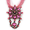 Pink Statement Diamante Charm Pendant Cord Necklace In Bronze Metal - 38cm Length/ 7cm Extension
