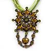 Olive/Light Green Statement Diamante Charm Pendant Cord Necklace In Bronze Metal - 38cm Length/ 7cm Extension