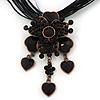 Black/ Grey Diamante Vintage Flower Pendant On Cotton Cords Necklace In Bronze Metal - 38cm Length/ 7cm Extension