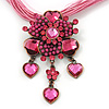 Fuchsia/ Pink Diamante Vintage Flower Pendant On Cotton Cords Necklace In Bronze Metal - 38cm Length/ 7cm Extension