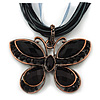 Black/Dark Grey Diamante 'Butterfly' Cotton Cord Pendant Necklace In Bronze Metal - 38cm Length/ 8cm Extension