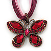Pink/Magenta Diamante 'Butterfly' Cotton Cord Pendant Necklace In Bronze Metal - 38cm Length/ 8cm Extension