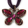 Violet/Deep Purple Diamante 'Butterfly' Cotton Cord Pendant Necklace In Bronze Metal - 38cm Length/ 8cm Extension