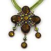 Vintage Olive Diamante 'Cross' Pendant Necklace On Cotton Cords In Bronze Metal - 38cm Length/ 7cm Extension