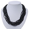 Black/Grey Glass Bead Multistrand Necklace In Silver Plating - 42cm Length/ 6cm Extension