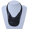 Black/ Grey Glass Bead Layered Necklace In Silver Plating - 54cm Length/ 6cm Extension