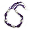 Purple Glass Bead With Hammered Metal Station Long Necklace In Silver Tone Finish - 70cm Length/ 7cm Extension