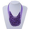 Purple Glass Bead Layered Necklace In Silver Plating - 54cm Length/ 6cm Extension