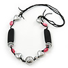 Long Pink Glass Bead and Silver Heart Acrylic Bead Necklace on Black Suede Cord - 100cm Length