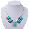 Light Blue Square Acrylic Bead Geometric Necklace In Silver Plating - 40cm Length/ 5cm Extension