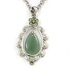 Pear-Shaped Green Jade/ Diamante Pendant Necklace In Rhodium Plating - 38cm Length/7cm Extension