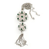 Green Jade/ Rose Quartz Stone 'Chain Tassel' Pendant Necklace In Rhodium Plating - 44cm Length/ 6cm Extension