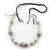 Long Faux Pearl and Silver Acrylic Bead Necklace On Black Cotton and Suede Cord - 100cm Length