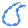 Sea Blue Glass Bead Necklace In Silver Plating - 42cm Length/ 6cm Extension